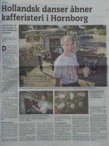 Vejle Amts Avis - 2. august, 2012. Hollandsk danser åbner kafferisteri i Hornborg.