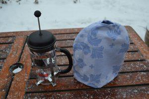 kaffevarmer til stempelkande 6 kops blå